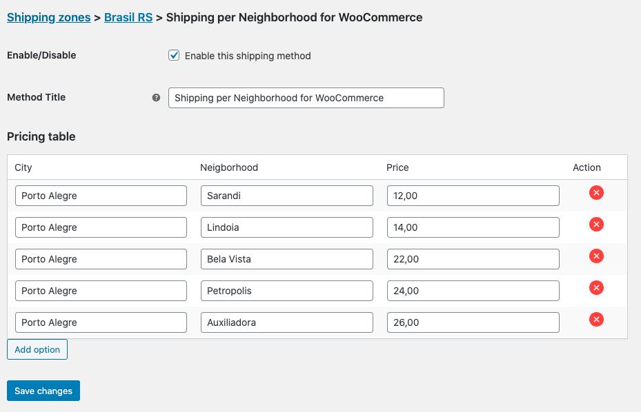 Shipping per Neighborhood for WooCommerce